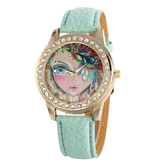 Floral Beauty Crystal Leather Watch - Oh Yours Fashion - 2