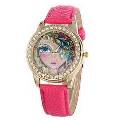 Floral Beauty Crystal Leather Watch - Oh Yours Fashion - 5