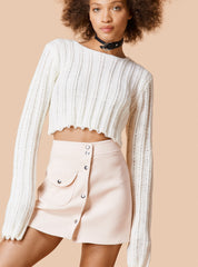Sexy Long Sleeve Ribbed Crop Top Sweater - Oh Yours Fashion - 2