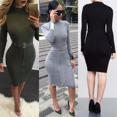 Sexy Knit High Neck Long Sleeve Bodycon Knee-length Belt Dress - Oh Yours Fashion - 1