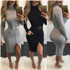 Sexy Knit High Neck Long Sleeve Bodycon Knee-length Belt Dress - Oh Yours Fashion - 7