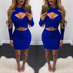 Cross Bandage Long Sleeve Short Bodycon Dress - Oh Yours Fashion - 7
