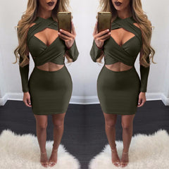 Cross Bandage Long Sleeve Short Bodycon Dress - Oh Yours Fashion - 6
