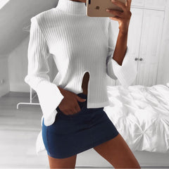 High Neck Stretchy Ribbed-Knit Split Long Sleeve Blouse - Oh Yours Fashion - 1