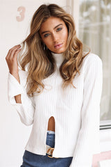 High Neck Stretchy Ribbed-Knit Split Long Sleeve Blouse - Oh Yours Fashion - 6