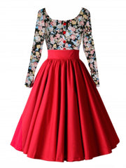 Retro Hepburn Floral Print Patchwork Long Sleeves Dress - Oh Yours Fashion - 6