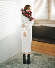 Fashion Ribbed High Neck Long Sleeve Knit Long Sweater - Oh Yours Fashion - 3