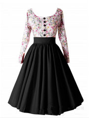 Retro Hepburn Floral Print Patchwork Long Sleeves Dress - Oh Yours Fashion - 5