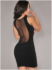 O-neck Mesh Transparent Backless Little Black Club Dess - O Yours Fashion - 3