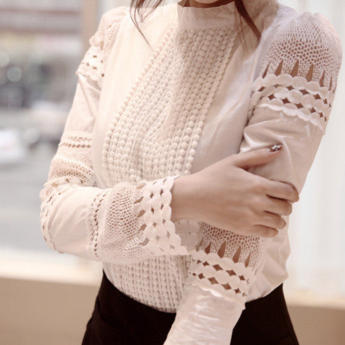 High Neck Lace Hollow Out Long Sleeves Pure Color Blouse - Oh Yours Fashion - 1