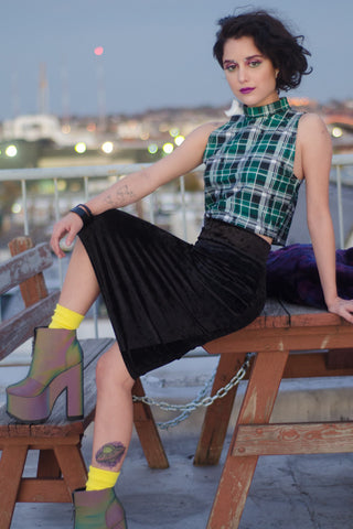 Green Plaid Turtleneck Crop Top