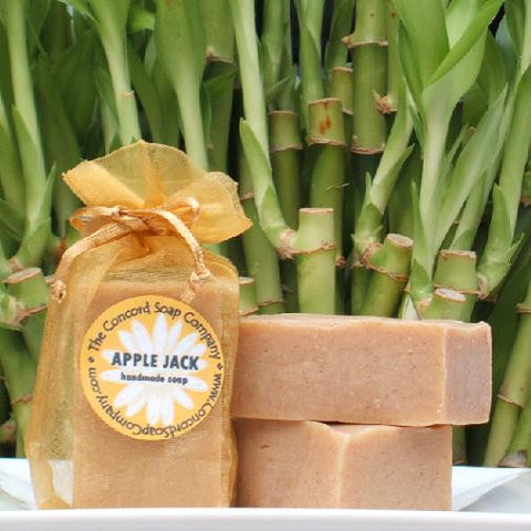 Handmade Apple Jack Soap in gold organza bag