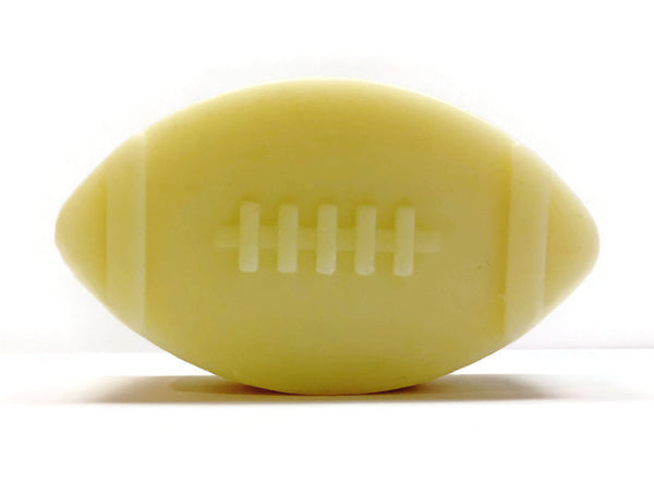 Leather Handmade Cold Process Soap Bar, 3oz - football shape