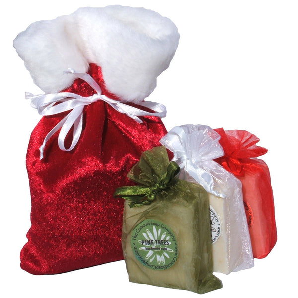 Red Velvet Bag with White Faux Fur filled with three bars of soap