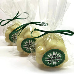 Handmade Lucky Shamrock Soap in shape of clover in cello bag with green ribbon