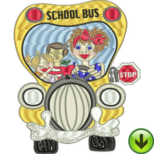 Happy Bus Embroidery Design | DOWNLOAD