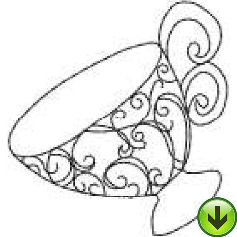 Scroll Cup Embroidery Design | DOWNLOAD