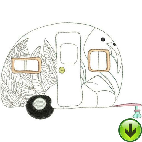 Tropical Trailer Machine Embroidery Design | Download