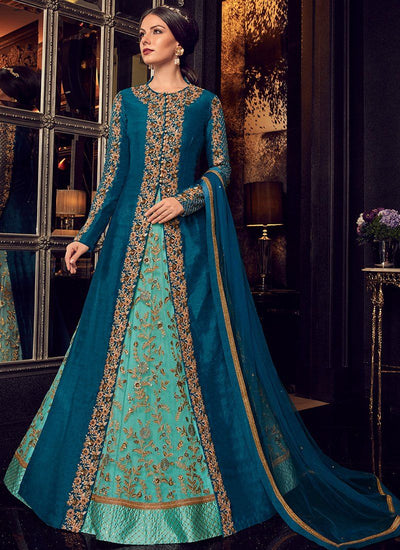 Blue Jacket Style Embroidered Pant Suit