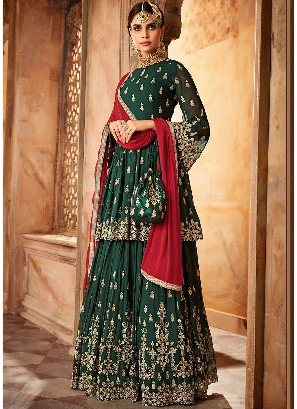 Embroidered Sharara with Bell Sleeve Kameez in Bottle Green