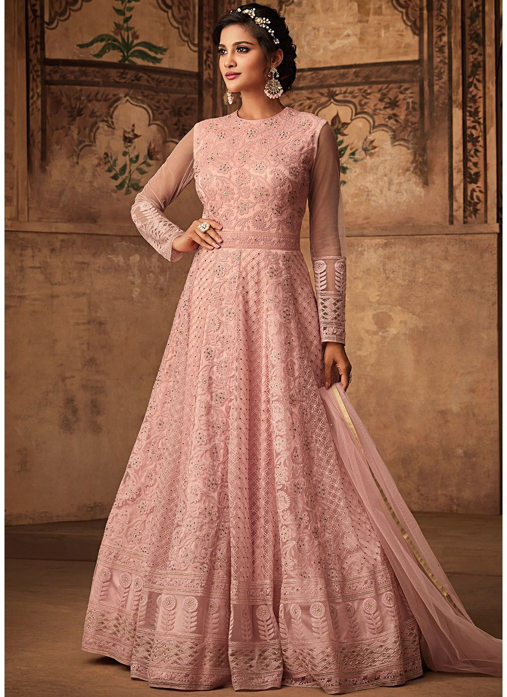 Net Embroidered Floor Touch Abaya Kameez in Light Pink