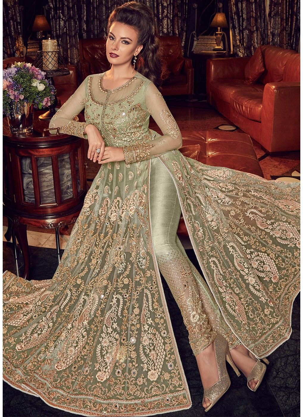 Embroidered Side Slit Kameez with Pants