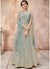 Net Embroidered Abaya Style Kameez in Light Blue