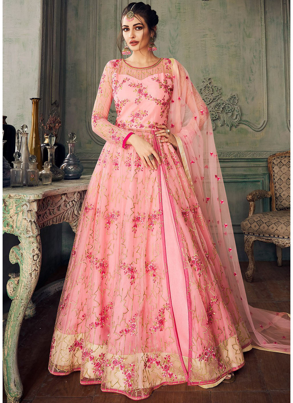 Embroidered Lehenga Style Anarkali in Pink