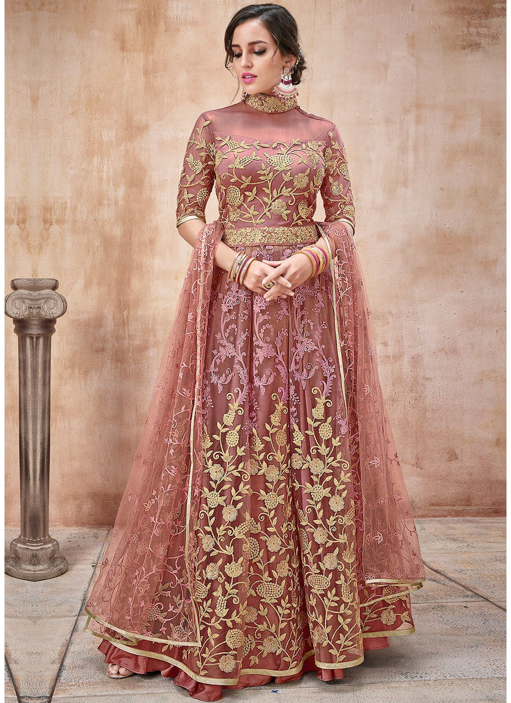 Net Embroidered Abaya Style Kameez in Dusty Pink