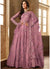 Full Sleeve Embroidered Abaya Suit in Purple