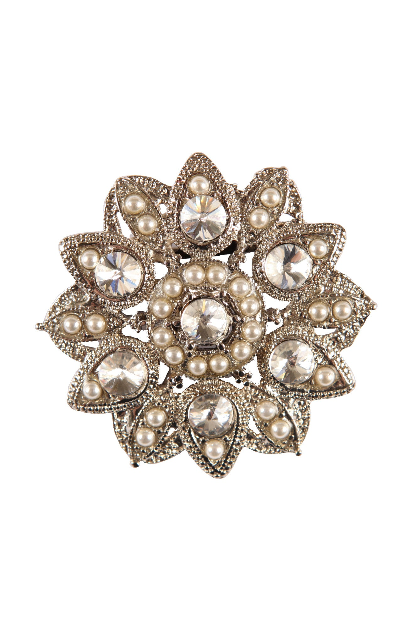 Large diamante and pearl style Brooch