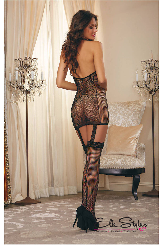 Lace Garter Dress Fishnet Sides ElleStyles