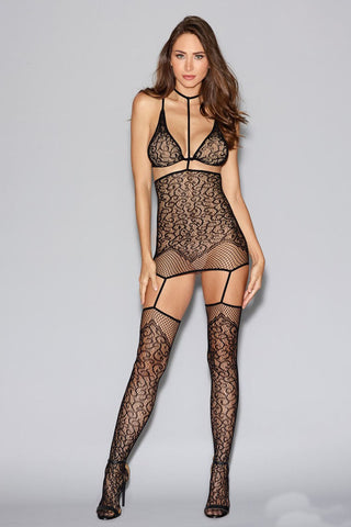 Lace Garter Dress Fishnet Sides