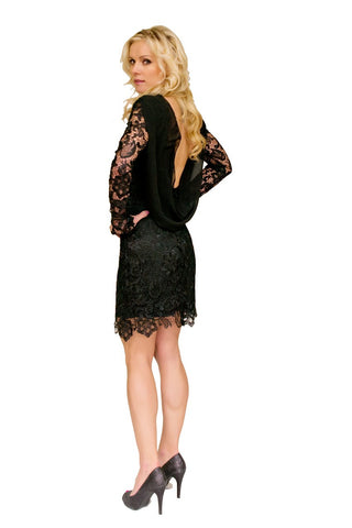One Shoulder Dress w Lace Overlay
