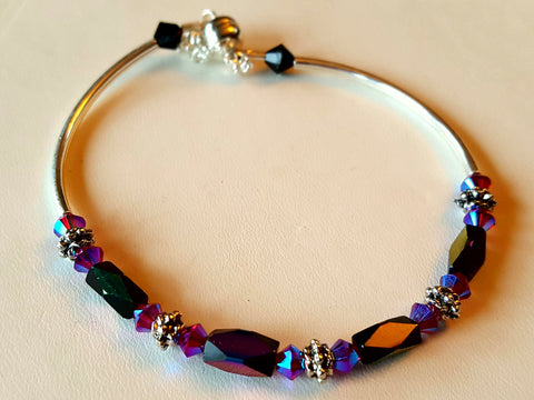 Crystal Magnetic Clasp Bracelet #003 Purple w/ Safety Chain