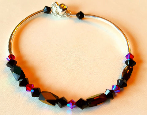 Crystal Magnetic Clasp Bracelet #002 Purple w/ Safety Chain