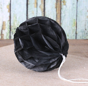 Black Honeycomb Tissue Balls: 3"