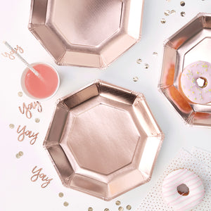 Rose Gold Plates: Octagon | www.bakerspartyshop.com