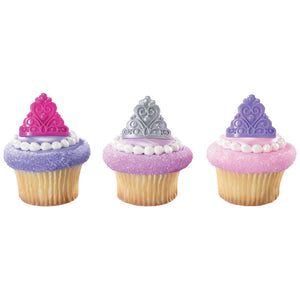 Princess Crown Cupcake Topper Rings | www.bakerspartyshop.com