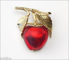 Vintage Napier Frosted Molded Glass Siam Red Apple Brooch Pin Fruit Jewelry 1960's