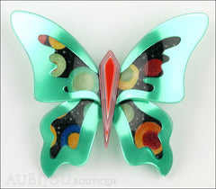 Lea Stein Elfe The Butterfly Insect Brooch Pin Mint Green Red Celestial Multicolor Front