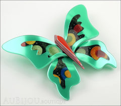 Lea Stein Elfe The Butterfly Insect Brooch Pin Mint Green Red Celestial Multicolor Side