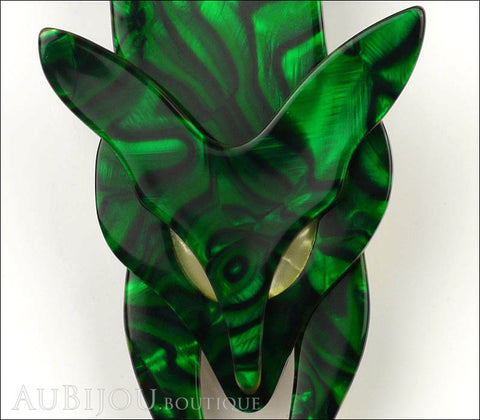 Lea Stein Fox Brooch Pin Forest Green White Gallery