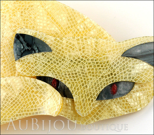 Lea Stein Mistigri The Cat Brooch Pin Yellow Black Gallery