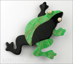 Lea Stein Rhana The Leaping Frog Green Brooch Pin Green Black Front