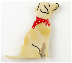 Marie-Christine Pavone Brooch Dog Labrador Beige Galalith Front