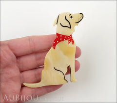 Marie-Christine Pavone Brooch Dog Labrador Beige Galalith Model