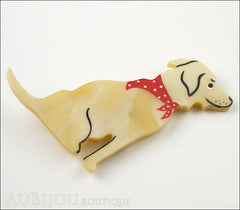 Marie-Christine Pavone Brooch Dog Labrador Beige Galalith Side