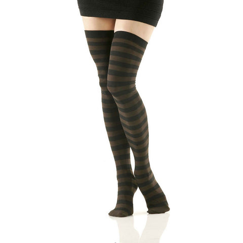 Black and Brown Striped Opaque Thigh Highs