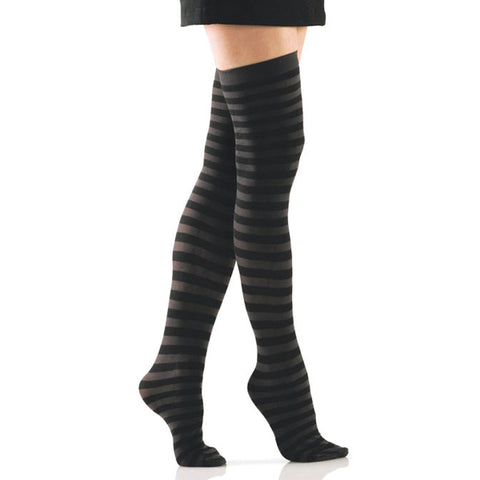 Black and Grey Striped Opaque Thigh Highs